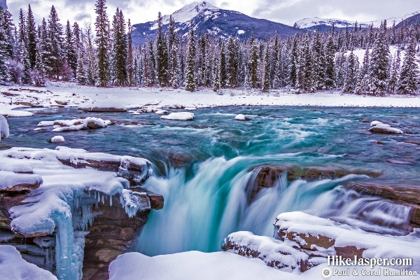 Athabasca Falls in Winter - Hike Jasper