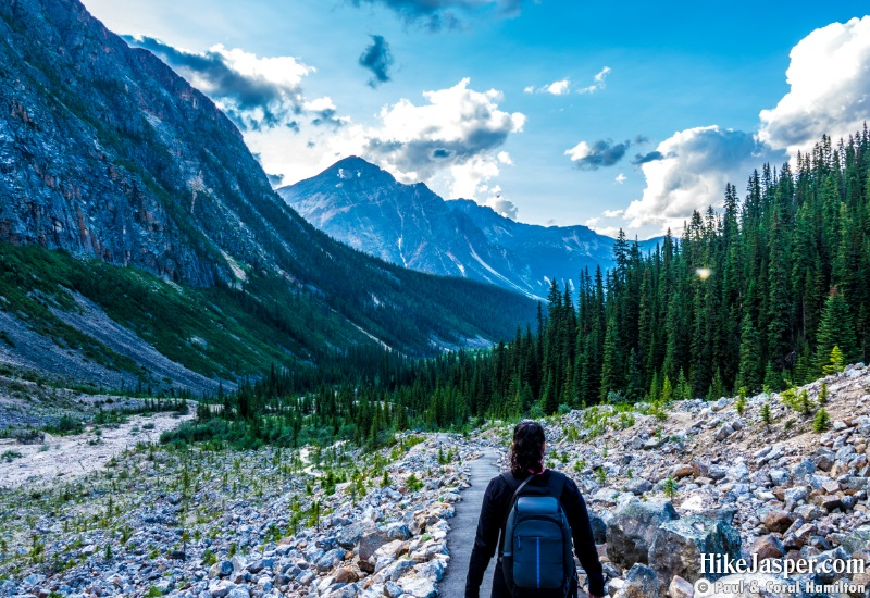 Hiking Down Edith Cavell Meadows Mountain Trail in Jasper