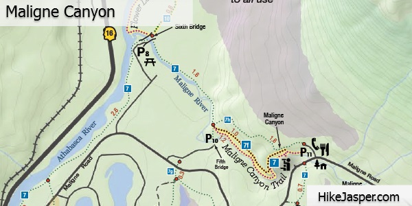 Maligne Canyon Ice Walk Trail Map