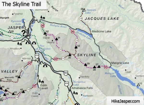 Jasper National Park Skyline Trail Hiking Map